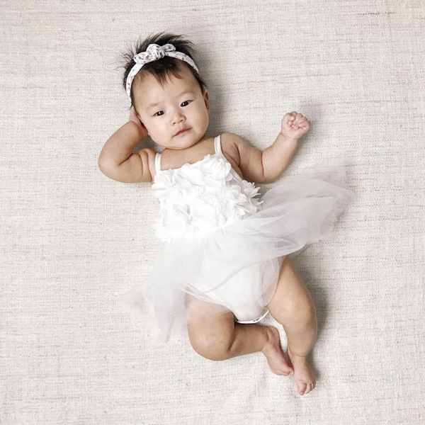 Bluish Baby Celine White Tutu Dress